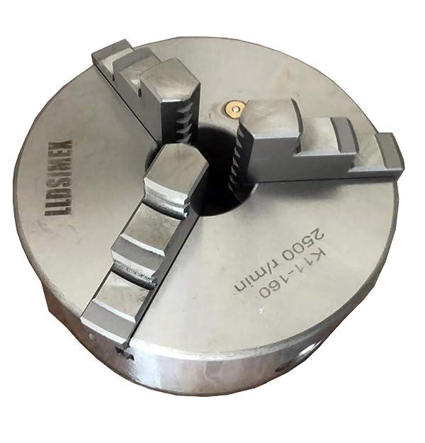 K11-160 Chuck 3 Jaw Self-Centering Lathe Chuck 6/160mm With 2 Set Jaws (Tamaño: 6/160mm)
