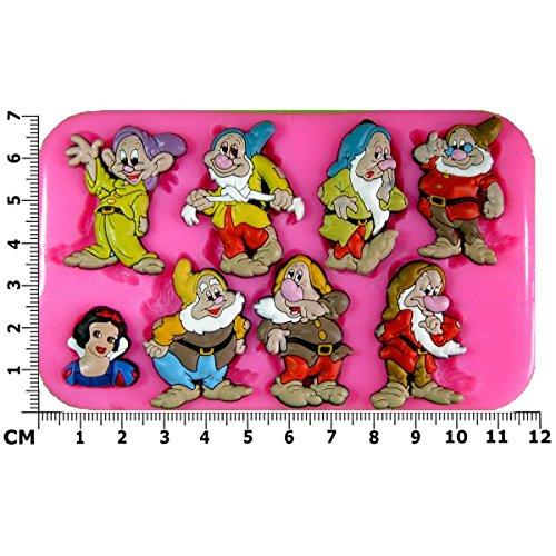Blanche-Neige et les sept nains Moule en Silicone pour décoration de gâteaux glaçage pâte à sucre Outils de décoration pour gâteau Par les fées Blessings