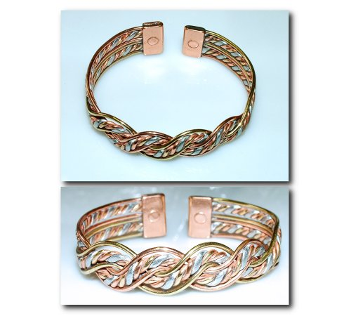 Magnetic Copper Bracelet / Bangle - Brand New 17M Delicately Handcrafted In The U.K. 3 Colour Copper / Brass / Alluminium Crossover Magnetic Therapy . - With Free Gift! A Stunning Piece Of Jewellery