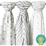Muslin Swaddle Blanket - 3 Pack, Unisex - SavvyBaby 48 x 48 Large Muslin Blanket for Boys & Girls in Chevron, Cross & Arrow Patterns - 100% Muslin Soft Cotton Baby Swaddle Wrap - Best Baby Shower Gift