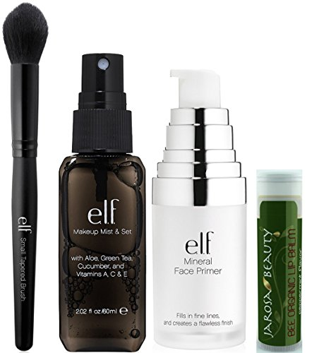 e.l.f. Makeup Set: Includes - Makeup Mist & Set 2.02 fl.oz/60mL, Mineral Infused Face Primer 0.47 fl.oz/14mL and Small Tapered Brush with a Jarosa Bee Organic Peppermint Lip Balm (Elf Set And Seal compare prices)