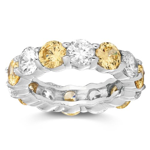 Canary Yellow and White Cubic Zirconia Stackable Eternity Band Ring