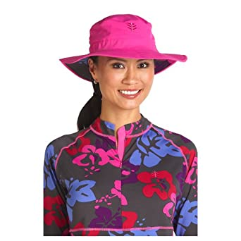 Coolibar UPF 50+ Women's Chlorine Resistant Bucket Sun Hat (Pink/Berry Floral - Large / X-Large)