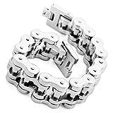 Mens Large Stainless Steel Bracelet Link Wrist Silver Polished