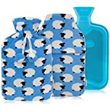 HomeTop Premium Classic Rubber Hot or Cold Water Bottle with Soft Fleece Cover (2 Liters, Blue / Blue Sheep Envelope Cover + Regular Cover)