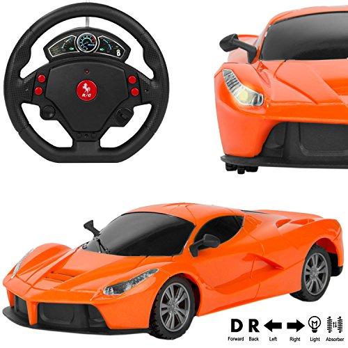 RC Remote Control Exotic Orange Lamborghini Murcielago Sport Car [1:24 Scale] w/ Motion Steering Wheel Sensor Controller (Go Forward & Backward, Turn Left & Right)