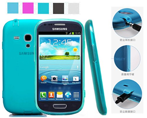 Koppu For Samsung Galaxy S3 Mini I8190(Inbuilt Dust Plug For Earphone Jack And Charging Port) Slim Fit Semitransparent Tpu Frosted Soft Phone Cover Case (Galaxy S3 Mini, Turquoise)