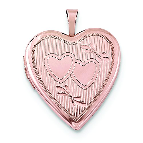 Sterling Silver Rose Gold-Plated 20Mm Double Hearts Heart Locket