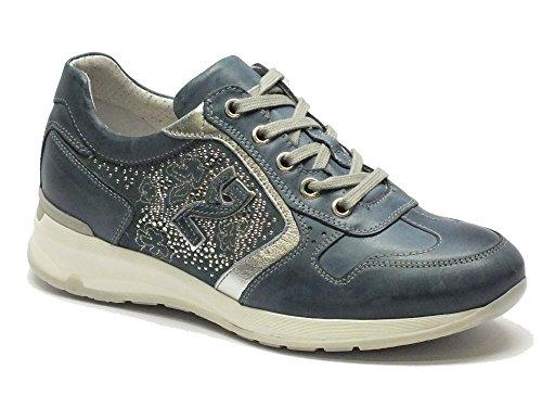 Scarpe Nero Giardini per donna in pelle blue ed argento, Navy, 40