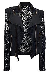 eVogues Plus Size Open Front Lace Sleeve Jacket Black - 3X