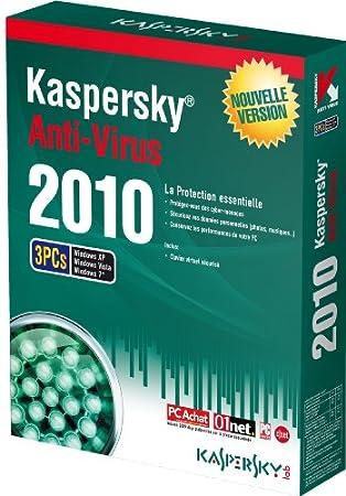 Kaspersky antivirus 2010 (3 postes, 1 an)