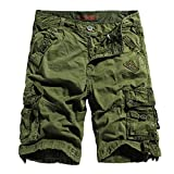 Mens Cotton Loose Fit Multi Pocket Cargo Shorts