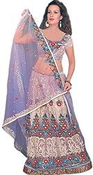 Exotic India Lavender Bridal Lehenga Choli with Floral Ari Embroidery - LavenderColor XX-Large