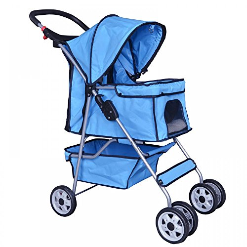 New Blue 4 Wheels Pet Stroller Cat Dog Cage Stroller Travel Folding Carrier 04T