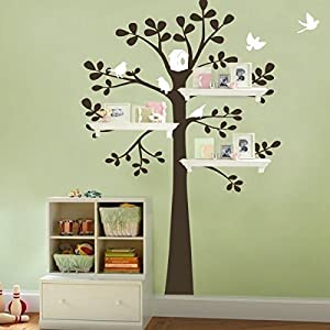 tree wall decal shelving tree decal with birds vinyl