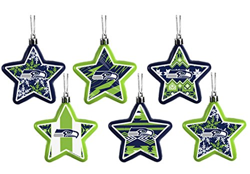 NFL-Seattle-Seahawks-6-Pack-Shatterproof-Star-Ornament-Set