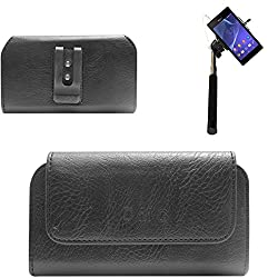 DMG Premium PU Leather Cell Phone Pouch Carrying Case with Belt Clip Holster for Sony Xperia Z2 (Black) + Selfie Stick Monopod with Aux (No Battery Needed)