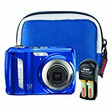 Kodak EasyShare C143 12 MP Digital Camera with 3x Optical Zoom (Blue Bundle ....