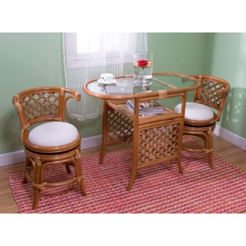 3pc Rattan Cane Honeymoon Dining Table 2 Swivel Chairs Set