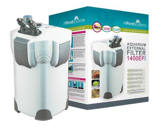 Aquarium External Fish Tank Filter 1400L/H + 9W UV Light Free Filter Media All Pond Solutions 1400EF+