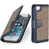 StilGut Talis, Fashion-Serie, Tasche aus Leder mit innenliegenden Fächern für Apple iPhone 5s, Donegal-Tweed / navyblau