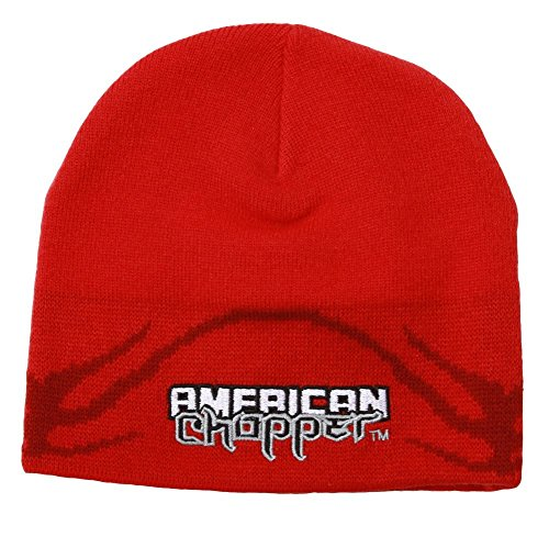 Licensed American Chopper Cuffless Beanie - Red (Hat American Chopper compare prices)