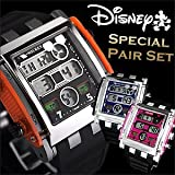 Disney ディズニー 世界初 ミッキー スクエア デジタル タイプ 腕時計 2本ペアセット ブルー 文字盤×ピンク 文字盤 ラバーベルト 隠れミッキー 青 桃 バレンタインギフトに 【ギフトラッピング無料】[並行輸入品]