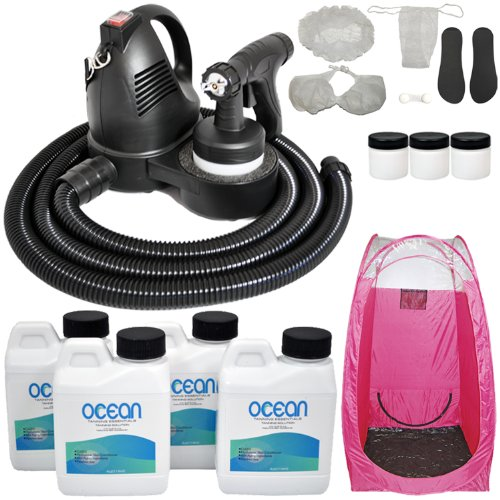 Turbo Tan Premium (Model T75) Professional Sunless Hvlp Turbine Spray Tanning System With A Ocean Professional Salon Sunless Tanning 4 Solution Variety Pack Plus A Pink Tanning Tent, Accessories Kit And 3 Extra Cups front-59192