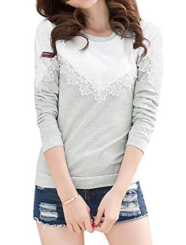 uxcell Women Floral Crochet Panel Contrast Color Slim Fit Sweatshirt Grey M