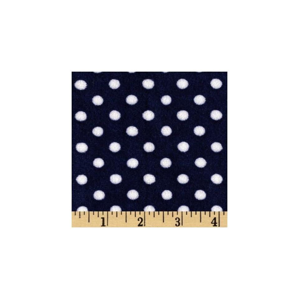 60 Wide Minky Polka Cuddle Midnight Blue Fabric By The Yard