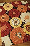 Indoor/Outdoor Black Patio & Porch Rug 7ft. 9in. x 10ft. 10in. Floral Pattern