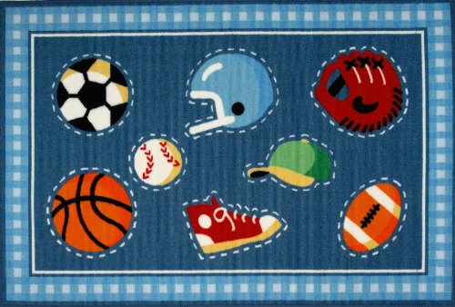Roule Olive Kids Collection Go Team! 39X58 Inch Kids Area Rugs