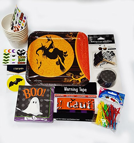 Halloween Party Supplies Bundle Fun For Kids and Adults - Baking Cup With Bat and Skeleton Picks - Warning tape ... Perfect for Your Halloweens' Eve Party and Spooky Night of (Halloween Party Theme Ideas For Adults)