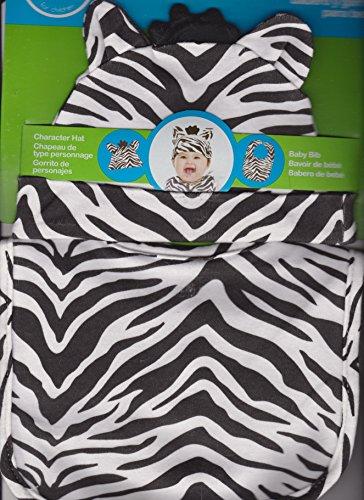 Baby Zebra Hat with Matching Bib 0-6 Months - 1