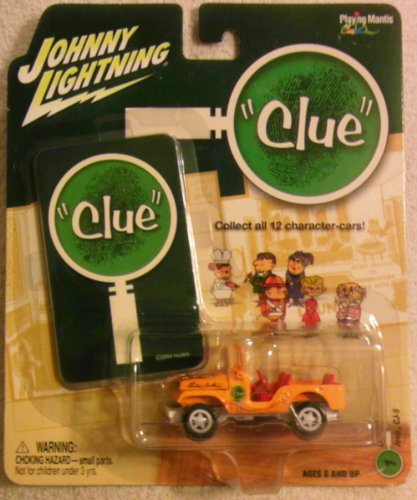 "Johnny Lightning ""Clue"" - Colonel Mustard, Jeep CJ-5 (Orange / Red Seats) #1 - Scale 1:64"