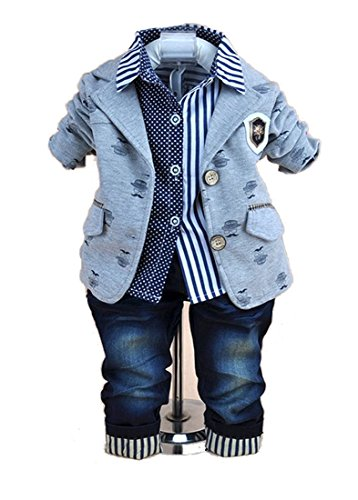 TKC Baby Boy Outfits Casual Style 3 Piece Set Jacket Shirt Pants Grey 12-24m