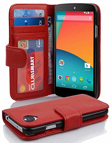 Cadorabo - Book Style Wallet Design for LG NEXUS 5 with 2 Card Slots and Money Pouch - Etui Case Cover Protection in CANDY-APPLE-RED (Nexus 5 Light Blue Wallet Case compare prices)