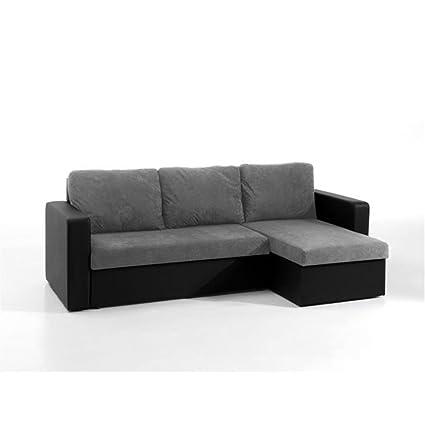 MCD ECHO - Sofá cama esquinero, color gris y negro