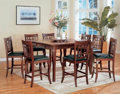 Buy Low Price Coaster 9pc Cherry Counter Height Dining Table w/Lazy Susan & Chair Set (VF_AZ00-11217×28092)