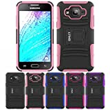 Galaxy J5 Case, HLCT Rugged Shock Proof Dual-Layer PC and Soft Silicone Case With Built-In Kickstand for Samsung Galaxy J5 (2016) (Pink)