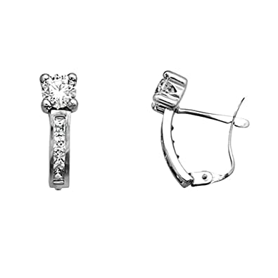 18k white gold cubic zirconia earrings 5mm. [AA5322]