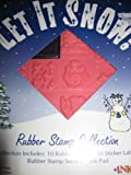Let It Snow! Snowman, Christmas Rubber Stamp Collection Kit w/ Ink Pad, 10 Stamps, Labels