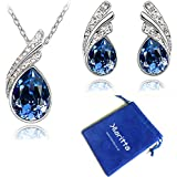 Stylish Jewellery Set Dark Blue Crystal Wings Studs Earrings & Necklace S289
