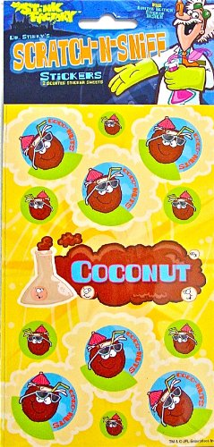 Dr Stinky's COCONUT Scratch-and-Sniff Stickers, 2 sheets 4 x 6 3/4, 26 stickers