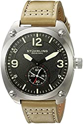 Stuhrling Original Men's Quartz Stainless Steel and Leather Casual Watch, Color:Beige (Model: 581.03)