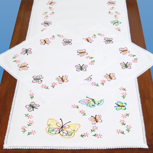 Jack Dempsey Stamped Dresser Scarf And Doilies Lace Edge, Fluttering Butterflies front-8923