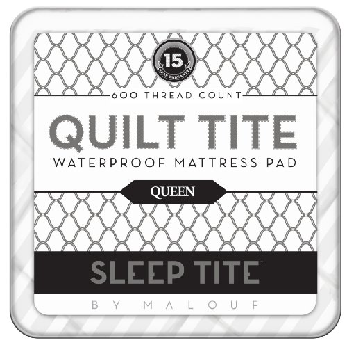 Sleep Tite by Malouf QUILT TITE 600TC 100% Cotton Waterproof Quilted Mattress Pad - Overfilled with Gelled Microfiber Topper, QUEEN