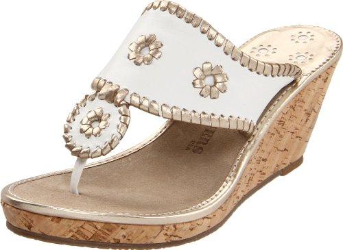 Jack Rogers Women's Del Mar Mid Cork Platform Sandal,White/Platinum,7 M US