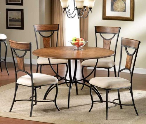 5pc dining table and chairs set with maple accents in black finish