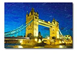 Neron Art - Hand painted Cityscape Oil Painting on Rolled Canvas for Living Room Wall Decor - London Bridge 48X32 inch